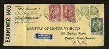 PORTUGAL 1941 AIRMAIL CENSOR COVER to USA MOTOR VEHICLE REGISTRY