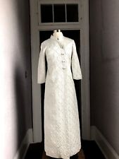 7f7987d68e 1960 s Vintage Mod Silver Brocade Evening Gown + matching Maxi Coat small