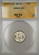 1938-S Silver Mercury Dime 10C Coin ANACS MS-66 Full Split Bands (11 B)