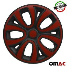 Hubcaps 15 Inch Wheel Rim Cover Matt Red With Black Insert 4pcs Set Fits Camry