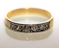 Antique 0.38ct Diamond 18ct Yellow Gold Eternity Band Ring size S 1/2 ~ 9 1/2
