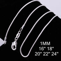 Wholesale Silver Plated Link 1MM Snake Chain For Necklace Findings DIY 16-24inch