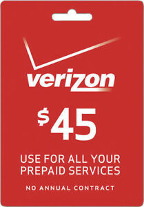 VERIZON WIRELESS  Prepaid $45 Refill Top-Up Prepaid Card , AIRTIME  RECHARGE