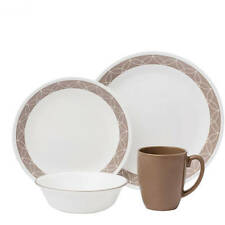 Corelle Table Dining Plates Sets Livingware Sand Sketch 16-Piece Dinnerware Set