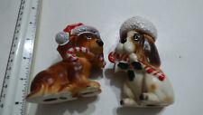2 Vtg Japan Christmas Dog Santa Hat Candy Canes Josef Originals in original box