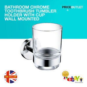 Bathroom Chrome Toothbrush Tumbler Holder with Cup Wall Mounted