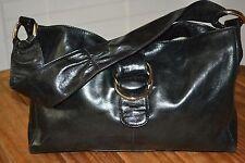 HOBO INTERNATIONAL Black Leather Tote Satchel Shoulder Bag Belted BUCKLE Purse