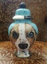 Custom  Pet urns DOG urn cremation Basset Hound  dog hand painted portrait ASHES