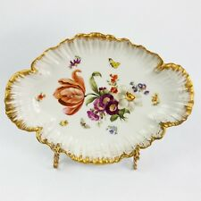 Antique KPM Porcelain Serving Dish Dresden Style Flowers and Butterflies