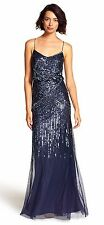Adrianna Papell Midnight Blue Navy Sequin Embellished Blouson Gown Sz 8 NWT $320