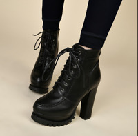 New Women's Lace Up Chunky High Heel Ankle Boots Platform Pu Leather Shoes Hot