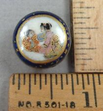SATSUMA , Early 1900s Porcelain BUTTON, Japanese Ladies, Set In Silver, Small