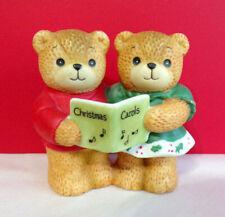 Lucy & Me Boy and Girl Singing Christmas Carols Teddy Bear Enesco Figurine