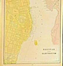 LARGE MAP OF THE CITY OF MONTREAL, HALIFAX, DARTMOUTH 1895 CANADA FRAMEABLE
