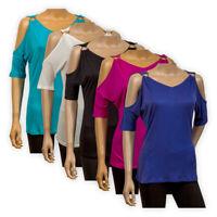 Womens Ladies Cold Shoulder Blouse Romantic Party V-Neck Top T-Shirt Size XS-XL
