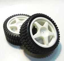 NEW! Kyosho 92685 Rally Tires w/ 92672 Wheels (White) - Nostalgic / 306 maxi FF