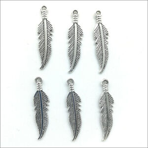 Bulk 20pcs feather Antique Silver Charms Pendants For Jewelry Making DIY 27*6mm