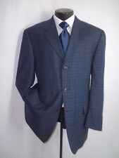 Haskel Blue Plaid 3 Buttons Side Vents Flannel Wool Jacket, Coat 44 Reg