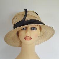 Ladies Formal Wedding Hat Races Mother Bride Cream Navy Loops Emma B Balfour