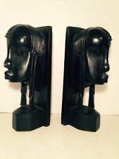"""Vtg Handcrafted Wood Bookends  Statue Bust Home Office Library 9"""" Kenya Africa"""