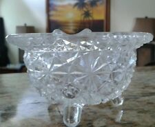 Vintage Crystal Glass Footed Ashtray Daisy Button Pattern