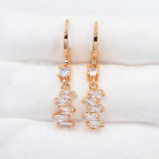 18K Yellow Gold Filled Clear Staggered Rectangle Mystic Topaz Dangle Earrings
