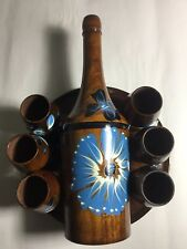 New listing Vintage Wooden Tequila Decanter With Matching Shot Cups