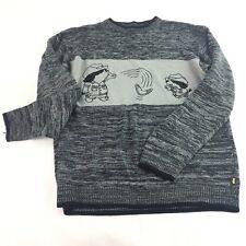 Diss Sweater Men's Size Xxxl Grey Shadow Boy Character Sweater Vintage