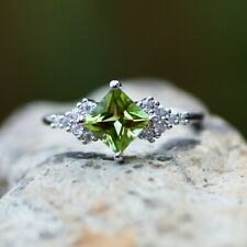 Natural Peridot Ring Solid Sterling Silver 925 , August birthstone