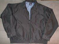 Chaps Mens Bomber Jacket Size XL Full Zip Plaid Lined Long Sleeve Pockets Black