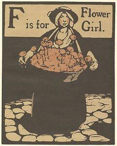 William Nicholson Woodcut Print 1898 F for FLOWER GIRL Alphabet Lithograph 1975