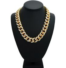 Iced Out Choker Miami Cuban Link Chain Micro Pave Prong Set Necklace Gold