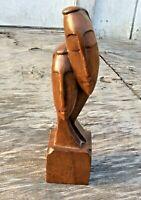 """Vintage Wood Art Sculpture Couple Man & Woman Dark Wood Figurine 10"""" Tall"""