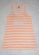 Womens Racer Back Tank Top KANSAS UNIVERSITY Orange Stripe L 12-14 KU
