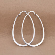 Hot Wholesale 925 Sterling Silver Large Flat U Shape Hoop Earrings Fashion