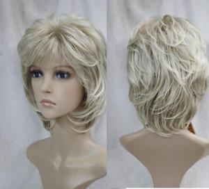 Women's Wig Short Ash Blonde Curly Wave Ladies Daily Hair Wigs+Wig Cap