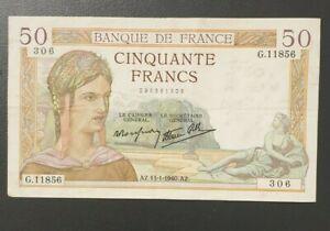 Billet de banque France 50 francs  Ceres 1940