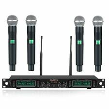Wireless Microphone System, Phenyx Pro 4-Channel UHF Cordless Mic Set With Four