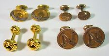 Antique Lot 4 Pairs Of Yellow & Rose Gold Filled Cufflinks 30G