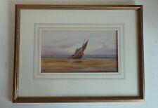 Old ORIGINALE incorniciato Acquerello su carta artista pittura VELA NAVE MARINE NAUTICA