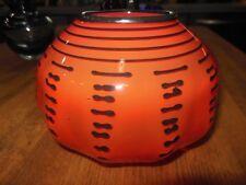Bohemian Czech Art Glass Vase Orange / Black Glass Windings Signed Tango Pumpkin