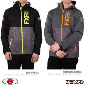 New 2020 FXR Men's Force Dual Laminate Jacket Black/HiVis Charcoal/Orange Snow