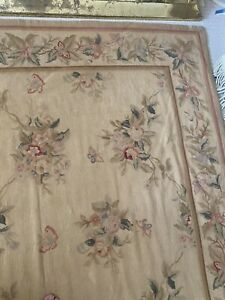 Beautiful Floral Needlepoint Rug or Tapestry Wall Hanging 5x8ft