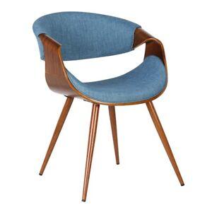 Armen Living Butterfly Dining Chair, Walnut/Blue - LCBUCHWABL