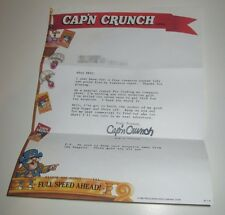 VINTAGE 1990 QUAKER CEREAL CAP'N CRUNCH CONTEST GIVEAWAY LETTER TO CONSUMER