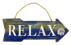 Beachcombers Relax Directional Wood Arrow Blue Wall Plaque 16 Inches