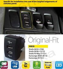 IVECO IN DASH DASHBOARD PANEL DUAL USB PORT CHARGER POWER OUTLET TRUCK LORRY