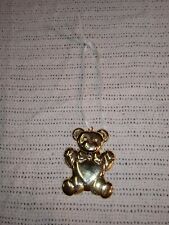 Vintage 1994 Gloria Duchin Brass Teddy Bear Hanging Christmas Tree Ornament Usa
