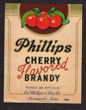 1930s Phillips Minnesota Cherry Brandy Label Tavern Trove