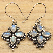 RAINBOW MOONSTONE Multi Stone Earrings ! Silver Plated COMBINED SHIPPING Jewelry